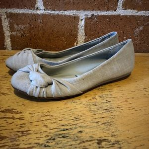 Knit grey knotted ballet flats